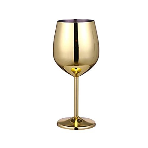 Copa de champán de acero inoxidable Copa de vino de vidrio de copa de vidrio de vino de vino de metal Bar restaurante Ublet Promotion (Color : Golden 500ml)