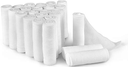D&H Medical 24 Bulk Pack Gauze Stretch Bandage Roll, 2 Inch X 4 Yards, Used for Wound Care, Easy to Use Cotton Ply Rolled Hand Wrap Dressing Ankles & Knees. Add to First Aid Supplies
