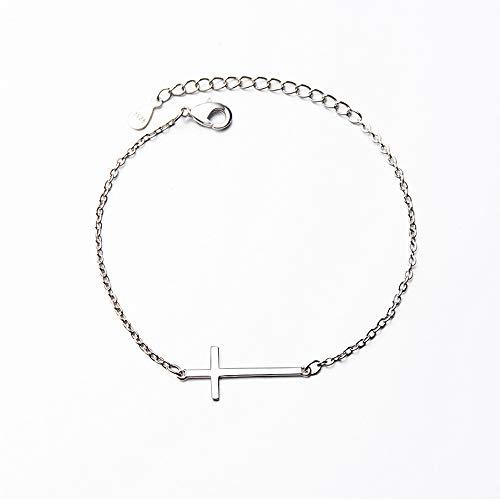 Pulsera de plata S925 con cadena de cruz para mujeres y hombres, regalo de cumpleaños