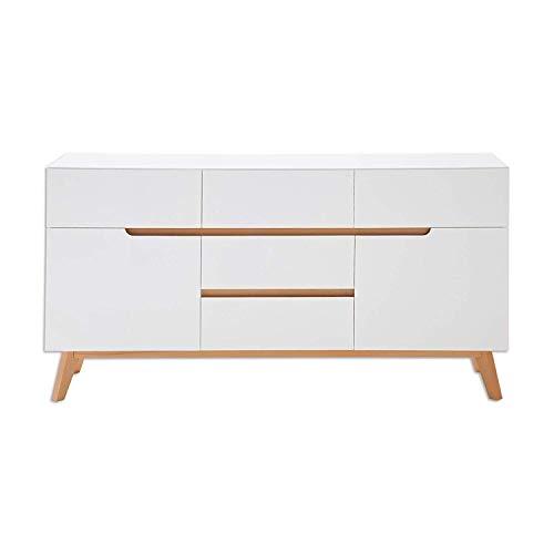 Sideboard Kommode Schrank Cervo matt weiß lackiert Absetzungen Asteiche Massivholz geölt Soft-Close 146 cm skandinavisch