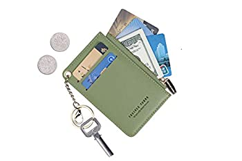 Small Wallets for Women Slim Leather Card Case Holder Wallet Coin Change Purse with Keychain  Green
