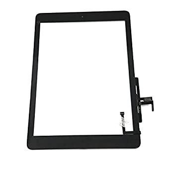 Digitizer Replacement Touch Screen for Ipad Air 1 1st Generation A1474 A1475 A1476 Aiiworld 9.7  Touch Panel Parts with Home Button Camera Bracket Adhesive Pre-Installed  Black