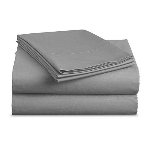 Luxe Bedding Sets - Queen Sheets 4 Piece, Flat Bed Sheets, Deep Pocket Fitted Sheet, Pillow Cases, Queen Sheet Set - Charcoal Gray