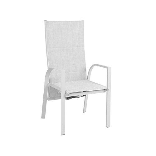 greemotion Stuhl Stockholm weiß/grau, Gartenstuhl mit stufenlos verstellbarer Rückenlehne, hochwertiges Aluminiumgestell, graue Bespannung aus 2x1 Textilene, witterungsbeständig und schnell trocknend