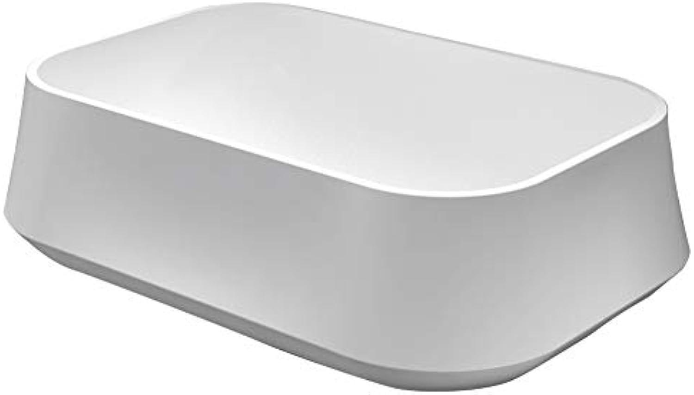 Aufsatzwaschbecken PB2161 aus Mineralguss Solid Stone - 60 x 42 x 16 cm - in Matt oder Hochglanz, Farbe Wei (hochglanz), Zustzl. Blende für Ablaufgarnitur ohne zustzl. Blende