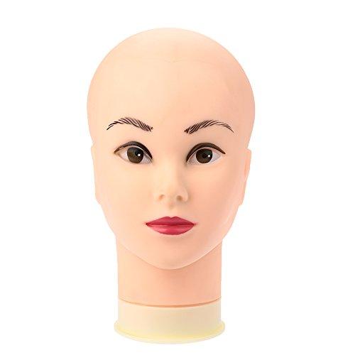 Anself Maniquí de cabeza femenino de silicona para aprendizaje de salón o exhibición de joyería peluca (con maquillaje,sin pelo)