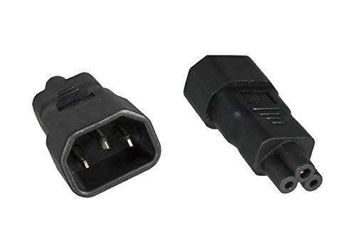 DINIC Stromadapter, Netzadapter C14 Kaltgerätebuchse auf C5 Stecker, Adapter (1 Stück, schwarz)