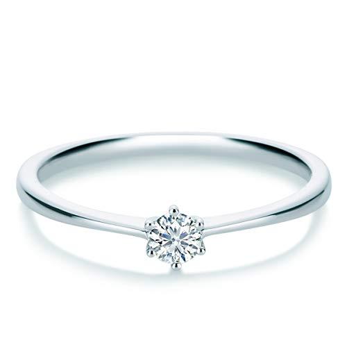Tresor 1934 Damen-Ring Diamant 0,15 Weißgold Solitärring Diamantring Verlobungsring