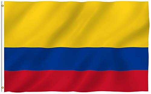 ANLEY Fly Breeze 3x5 Foot (90x150 cm) Colombia Flag - Levendige kleuren en UV-lichtbestendig - Canvaskop en dubbel gestikt - Colombiaanse nationale vlaggen Polyester met messing oogjes 3 X 5 Ft