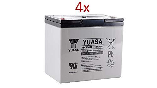 4X AGM 12V / 80Ah Yuasa loodacccu - REC80-12I cyclusvast compatibel met 60 Ah, 75 Ah, 77 Ah