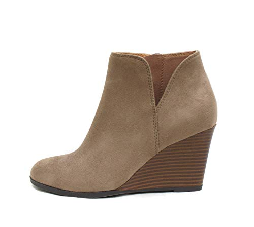 Soda Ability - Mid Ankle Bootie w/Split Shaft and Zipper Stacked Wedge Heel (6, Warm Taupe)