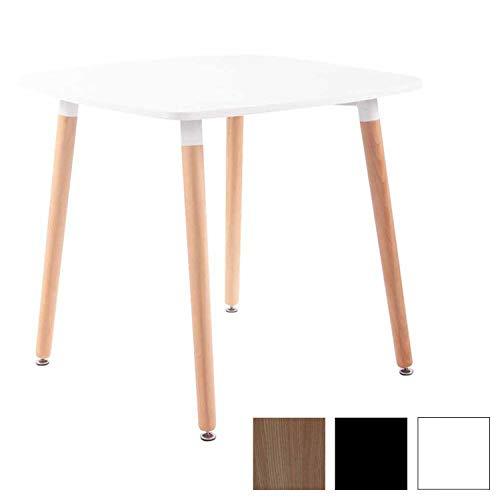 CLP Küchentisch VIBORG I Esstisch Mit MDF Tischplatte I Bistrotisch Mit Buchenholzgestell, Farbe:weiß, Größe:80 cm