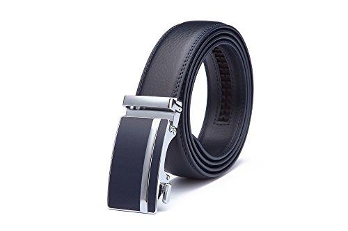 Miuno® Herren kürzbar Leder Gürtel Automatikschnalle in Geschenkbox 1511-N (Navy Blau)