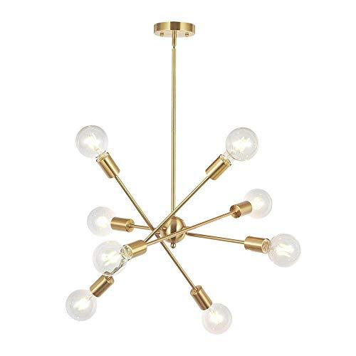 Moderne sputnik kroonluchter draaibare arm hanglamp plafondlamp in hoogte verstelbare hanglamp vintage lamp voor woonkamer slaapkamer keuken eetkamer tafel bar loft hal kantoor, 6-pits, chroom