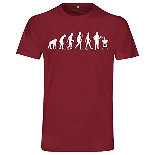 Evolution Grillen T-Shirt | Grill | Barbecue | Brutzler | Fleisch | Steak Bordeaux Rot 2XL