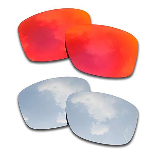 SOODASE Para Oakley Jupiter Squared Gafas de sol Rojo/Verde 2 Pares Lentes de repuesto polarizadas