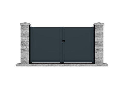 BAGANA - Portail aluminium battant manuel 3 m x 1,705 m (Lxh) - gris - Clotura