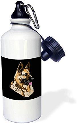 GFGKKGJFD612 Sven Herkenrath Dogs – Illustration de Portait avec Berger Allemand, Gourde de Sport en Aluminium Blanc