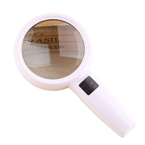 30 x vergrootglas met 3 ledlampen, hand-video, hoge dubbele optische glazen lens voor het aflezen van de gevorderde leeftijd, tijdschema. 110 * 95mm Wit