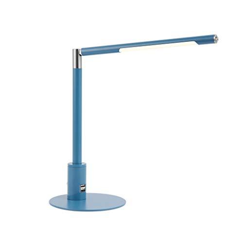 ZJX-F Lámpara de Mesa se Puede Girar, lámpara de Mesa Recargable por, Escritorio de protección Ocular, Mesa de Metal LED, versión de Plug-in Dual USB, Dormitorio Dormitorio (Color : Blue)