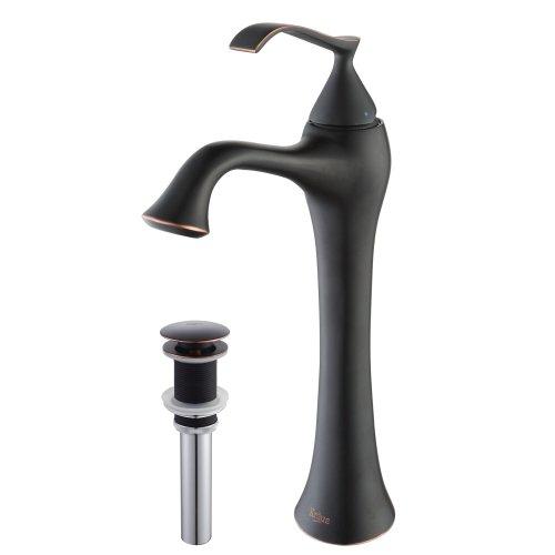 Kraus KEF-15000-PU15ORB Ventus Single Lever Vessel Bathroom Faucet with Pop Up Drain Oil Rubbed Bronze