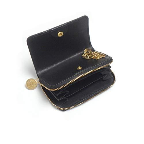 [ヘリクリサム] キーウォレット [ ミニ 財布 + キーケース ](ブラック)コンパクト 牛革 レディース メンズ ILL-1190
