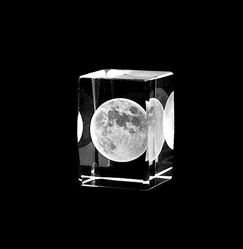 ERN Kristallglas Figur - Mond - 3D Laser Glas Skulptur | 45 x 30 x 30mm | Deko & Geschenkidee