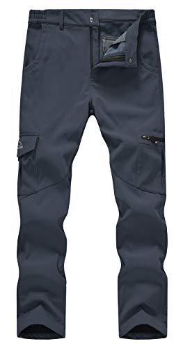 YSENTO Herren Skihose Wasserdicht Winddicht Vlies Gefüttert Winter Warm Taktische Cargo Outdoor Hose mit Reißverschlusstaschen(Grau,34)