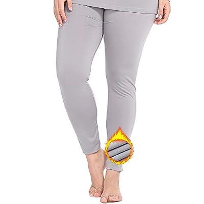 NUONITA Women's Thermal Pants Plus Size Fleece Lined Leggings Underwear Ultra Soft Bottoms?16W, Grey?