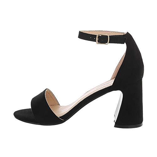 Ital-Design Damenschuhe Sandalen & Sandaletten High Heel Sandaletten, 8741-, Kunstleder, Schwarz, Gr. 37