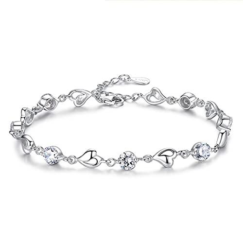 TTGE 925 Sterling Silver Heart Shaped Zircon Bracelet For Women Fashion Wedding Jewelry