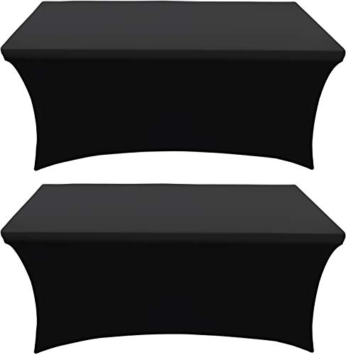Utopia Kitchen Mantel Extensible - Cubierta de Mesa Ajustable de 6 pies (183 cm) - Mantel de poliéster y Spandex - Lavable a máquina - Resistente a Las Arrugas (Paquete de 2, Negro) ⭐