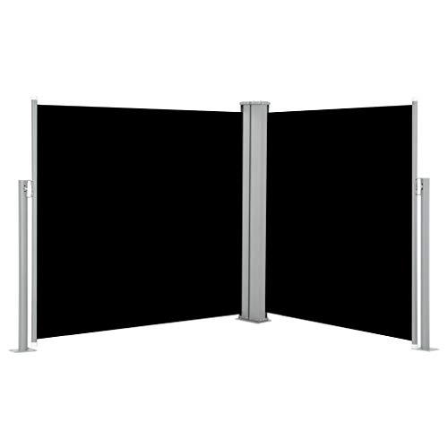 Tidyard Doppel Ausziehbare Seitenmarkise Balkonsichtschutz Windschutz Sonnenschutz für Garten Balkon Terrasse, Reißfest Wasserdicht, Schwarz 100x600 cm