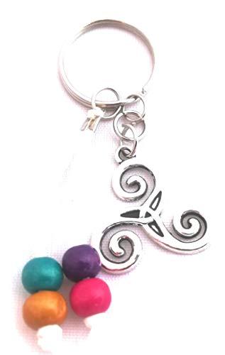 Esencia del Aroma - Set Artesanal de 3 llaveros Triple Espiral Celta, con Abalorios de Colores en Cuerda de Antelina