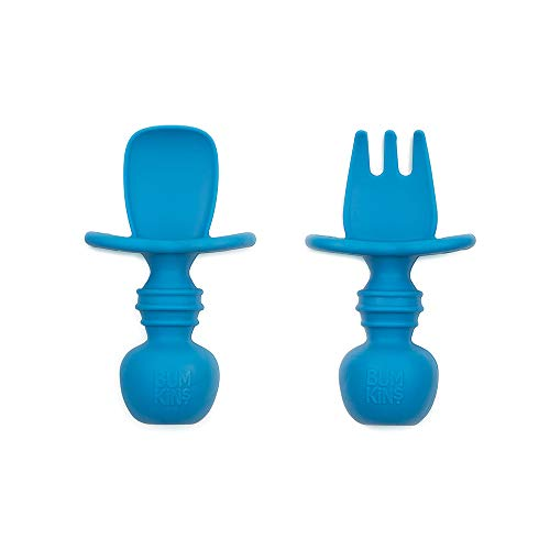 Bumkins Silicone Chewtensils, Baby Fork and Spoon Set, Training Utensils, Baby Led Weaning Stage 1 for Ages 6 Months+ in Dark Blue