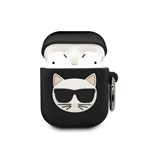 Karl Lagerfeld KLACA2SILCHBK Abdeckung schützt die Dockingstation für drahtlose Kopfhörer AirPods shwarz Silicone Choupette