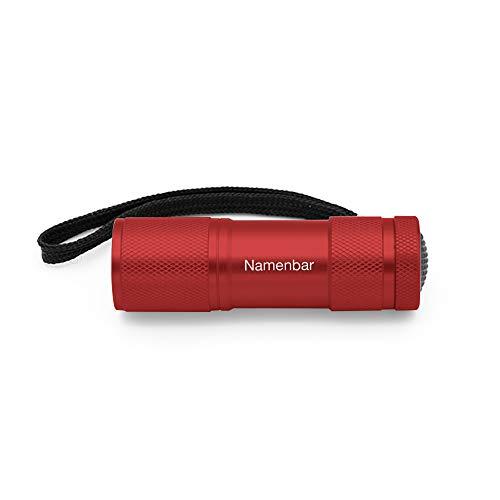 Taschenlampe mit persönlicher Gravur, rot, LED Licht, individuelle Geschenkidee