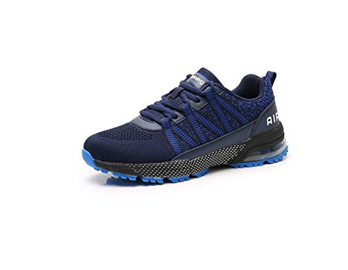Monrinda Sneakers Uomo Donna Scarpe Sportive Cuscino d'Aria Scarpe da Corsa Moda Tempo Libero Leggero Ammortizzazione Traspirante Jogging Blue 38EU