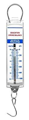 Premium Spring Balance - High Resolution, Dual Transparent Scale, Newtons & Grams - Zero Calibration Capability - Acrylic Body, Superior Quality & Finish - Eisco Labs