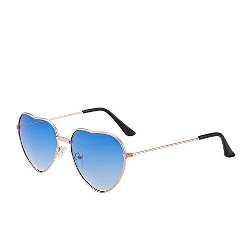 YUEMING 1 par de gafas gafas de sol de moda Gafas de sol en forma de corazón Gafas de sol de corazón de durazno Gafas de Sol de Hippies Marco de metal (Azul)