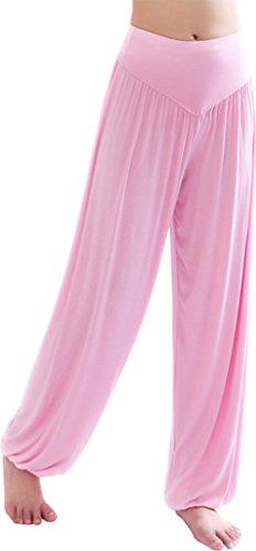 HOEREV Super weiche Modal Spandex Harem Yoga Pilates Hosen, Gr.-Medium,Hell-Pink