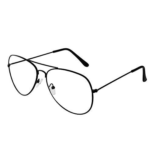 forepin Montura Gafas de Aviador para Unisex Hombre y Mujer con Montura de Metal-Acero Fino Retro Vintage Lente Transparente Visión Clara (Negro)
