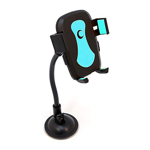Car Phone Mount | Easy One Touch Dash/Windshield Cell Phone Holder Universal Compatability for iPhone, Samsung, Android, Moto, Pixel, Nokia, LG Smartphones by Blue Beat Digital [Blue]