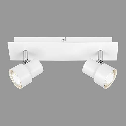 Briloner Leuchten - LED Deckenspot, Deckenleuchte 2-flammig, Strahler dreh- und schwenkbar, 2x GU10, 5 Watt, 460 Lumen, 3.000 Kelvin, Weiß