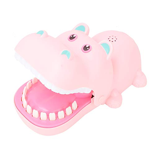 Queen.Y Biting Finger Game,Creative Portable Cartoon Hippo Mouth with Teeth Toy Bite Finger Board Game Kids Toys Parent-Child Interactive Game Funny Toys