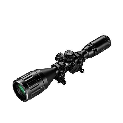 ESSLNB Mirino Softair 3-9X50mm con Tubo Parasole e Telemetro Lente Ottica Rosso Verde Blu 3 Impostazioni di Lminosità Red Dot Attacco per Guida Picatinny da 20mm   22mm Per la Caccia