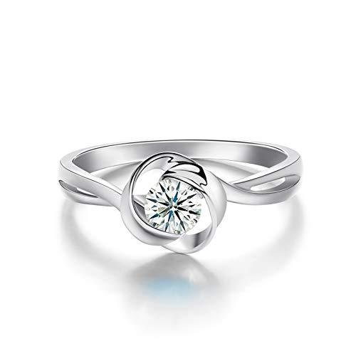 AieniD 18K Gelbgold Trauringe Damen Rundschliff Diamant Silber Weiß Ring Runden Size:63 (20.1)
