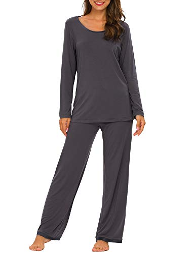 TIKTIK Womens Pajama Set Long Sleeve Sleepwear Scoop Neck Pjs Sets S-4XL, Purplish Grey, Large