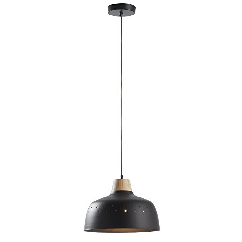 Kave Home - Suspension Bits noir 1 ampoule en acier et bois avec fil en corde rouge