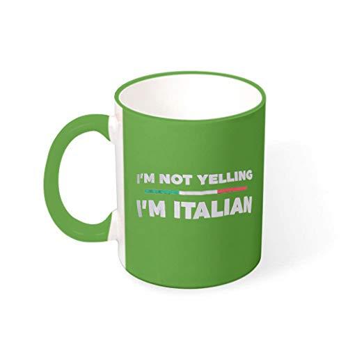 O5KFD&8 11 OZ Ich Schreie Nicht, ich Bin Italiener Becher Tasse Porzellan Humor Becher - Lustige Sprüche (Beidseitig Bedrucken) Irish Green 330ml